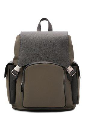 Мужской комбинированный рюкзак cachemire SERAPIAN хаки цвета, арт. SRCANMLL707329B | Фото 1 (Материал: Текстиль, Натуральная кожа)