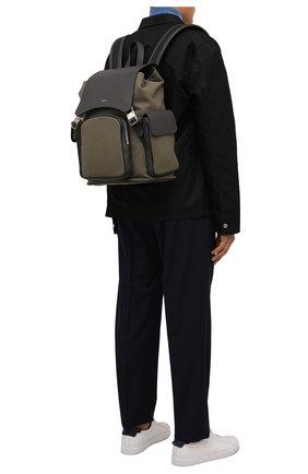 Мужской комбинированный рюкзак cachemire SERAPIAN хаки цвета, арт. SRCANMLL707329B | Фото 2 (Материал: Текстиль, Натуральная кожа)