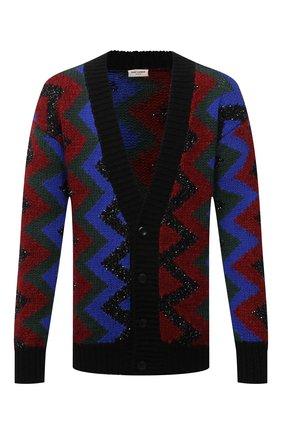 Мужской шерстяной кардиган SAINT LAURENT разноцветного цвета, арт. 663352/Y75BT | Фото 1 (Длина (для топов): Удлиненные; Рукава: Длинные; Материал внешний: Шерсть; Мужское Кросс-КТ: Кардиган-одежда; Стили: Бохо)