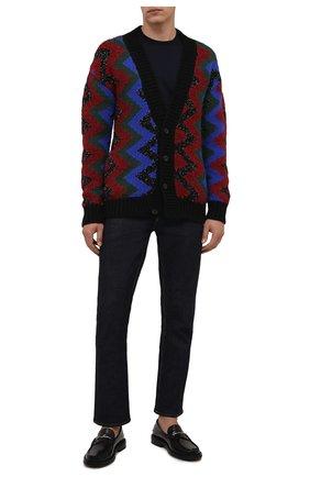 Мужской шерстяной кардиган SAINT LAURENT разноцветного цвета, арт. 663352/Y75BT | Фото 2 (Длина (для топов): Удлиненные; Рукава: Длинные; Материал внешний: Шерсть; Мужское Кросс-КТ: Кардиган-одежда; Стили: Бохо)
