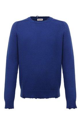 Мужской хлопковый свитер SAINT LAURENT синего цвета, арт. 604798/YAL02 | Фото 1 (Материал внешний: Хлопок; Мужское Кросс-КТ: Свитер-одежда; Рукава: Длинные; Длина (для топов): Стандартные; Стили: Кэжуэл; Принт: Без принта)