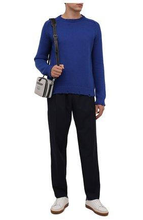 Мужской хлопковый свитер SAINT LAURENT синего цвета, арт. 604798/YAL02 | Фото 2 (Материал внешний: Хлопок; Мужское Кросс-КТ: Свитер-одежда; Рукава: Длинные; Длина (для топов): Стандартные; Стили: Кэжуэл; Принт: Без принта)