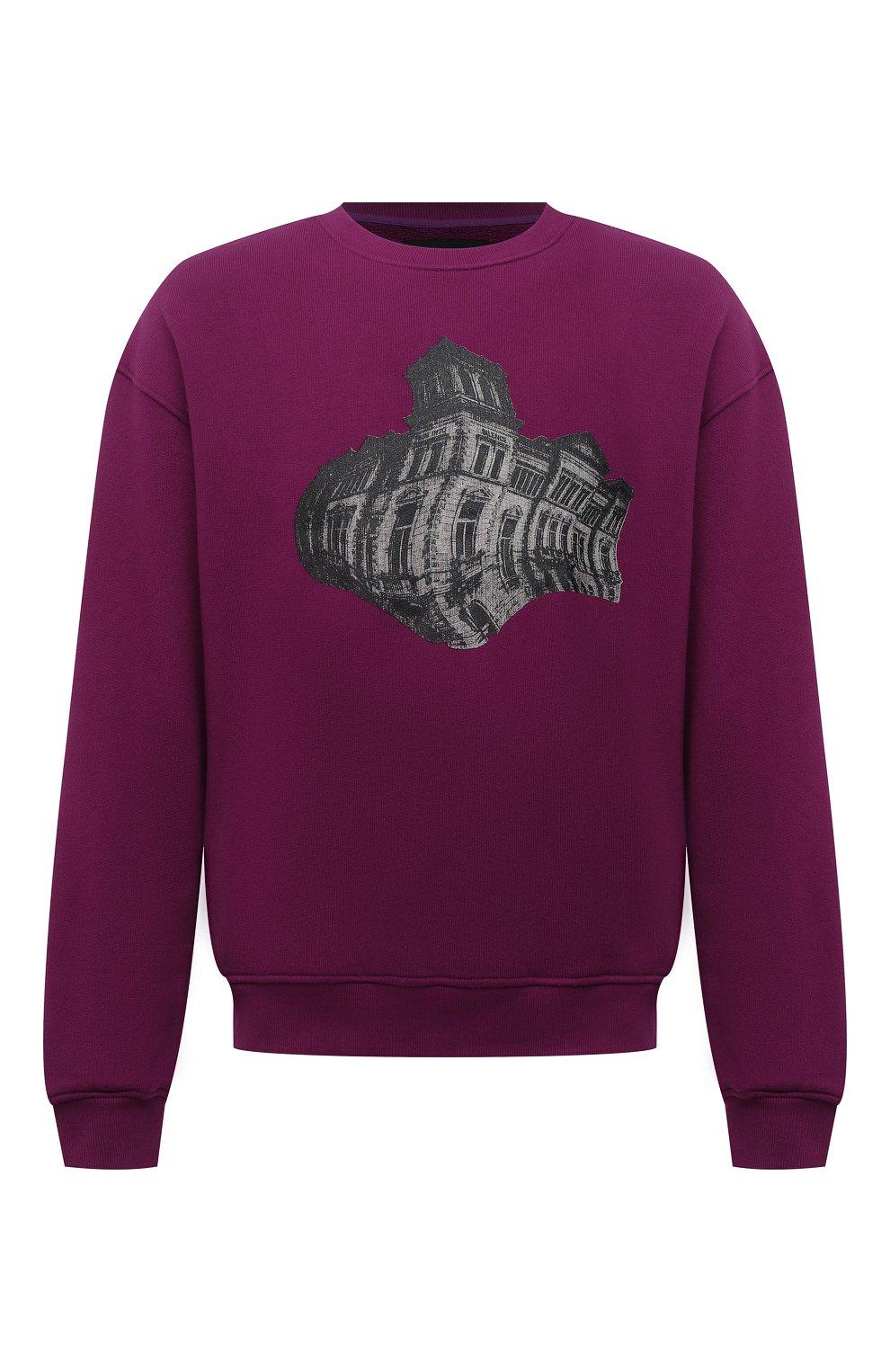 Мужской хлопковый свитшот TEE LIBRARY фиолетового цвета, арт. TFK-SW-27 | Фото 1 (Рукава: Длинные; Длина (для топов): Стандартные; Принт: С принтом; Мужское Кросс-КТ: свитшот-одежда; Материал внешний: Хлопок; Стили: Кэжуэл)