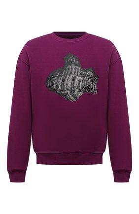 Мужской хлопковый свитшот TEE LIBRARY фиолетового цвета, арт. TFK-SW-27 | Фото 1 (Рукава: Длинные; Материал внешний: Хлопок; Длина (для топов): Стандартные; Мужское Кросс-КТ: свитшот-одежда; Принт: С принтом; Стили: Кэжуэл)