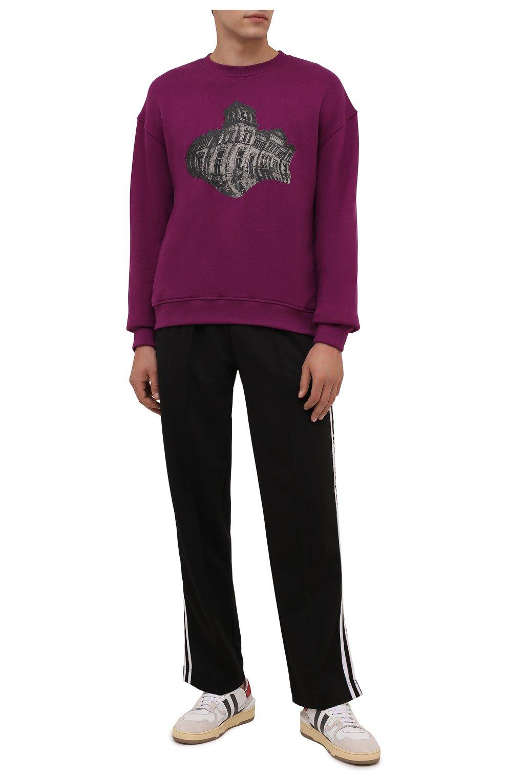Мужской хлопковый свитшот TEE LIBRARY фиолетового цвета, арт. TFK-SW-27 | Фото 2 (Рукава: Длинные; Длина (для топов): Стандартные; Принт: С принтом; Мужское Кросс-КТ: свитшот-одежда; Материал внешний: Хлопок; Стили: Кэжуэл)