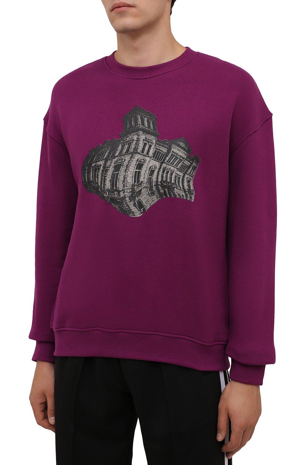 Мужской хлопковый свитшот TEE LIBRARY фиолетового цвета, арт. TFK-SW-27 | Фото 3 (Рукава: Длинные; Длина (для топов): Стандартные; Принт: С принтом; Мужское Кросс-КТ: свитшот-одежда; Материал внешний: Хлопок; Стили: Кэжуэл)