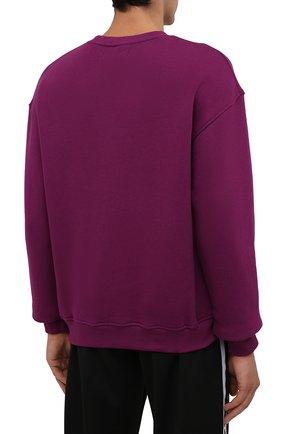 Мужской хлопковый свитшот TEE LIBRARY фиолетового цвета, арт. TFK-SW-27 | Фото 4 (Рукава: Длинные; Длина (для топов): Стандартные; Принт: С принтом; Мужское Кросс-КТ: свитшот-одежда; Материал внешний: Хлопок; Стили: Кэжуэл)
