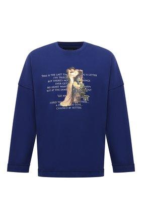 Мужская хлопковый лонгслив TEE LIBRARY синего цвета, арт. TFK-LT-18 | Фото 1 (Материал внешний: Хлопок; Длина (для топов): Стандартные; Рукава: Длинные; Принт: С принтом; Стили: Гранж)