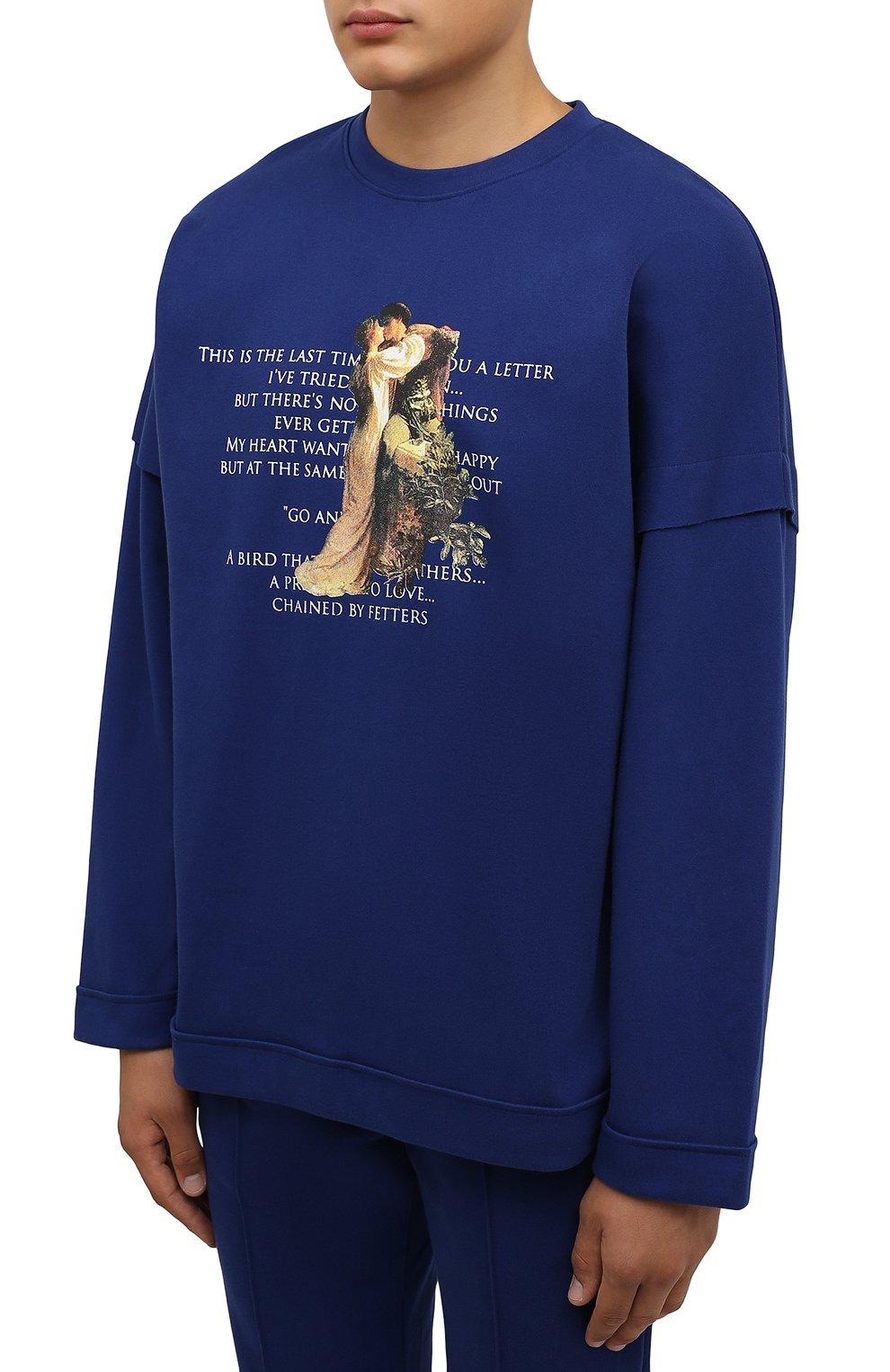 Мужская хлопковый лонгслив TEE LIBRARY синего цвета, арт. TFK-LT-18   Фото 3 (Рукава: Длинные; Длина (для топов): Стандартные; Стили: Гранж; Принт: С принтом; Материал внешний: Хлопок)
