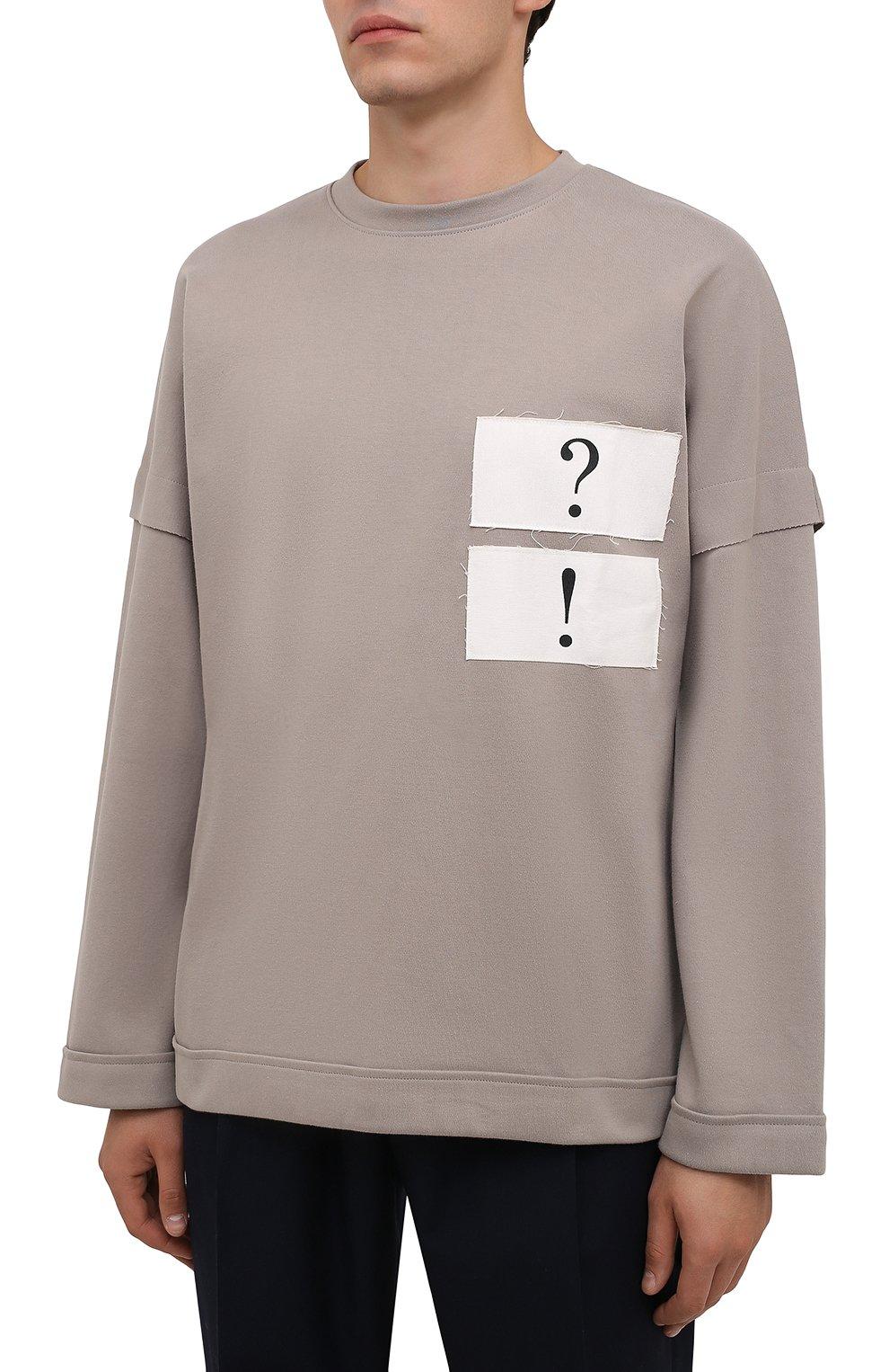 Мужская хлопковый лонгслив TEE LIBRARY светло-серого цвета, арт. TFK-LT-17 | Фото 3 (Рукава: Длинные; Длина (для топов): Стандартные; Стили: Гранж; Принт: С принтом; Материал внешний: Хлопок)