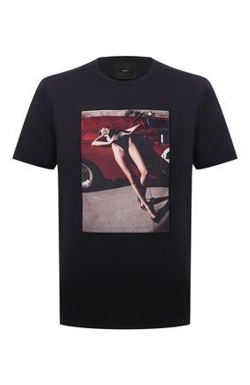 Мужская хлопковая футболка LIMITATO темно-синего цвета, арт. NUMBER 2/T-SHIRT | Фото 1 (Длина (для топов): Стандартные; Материал внешний: Хлопок; Рукава: Короткие; Принт: С принтом; Стили: Гранж)