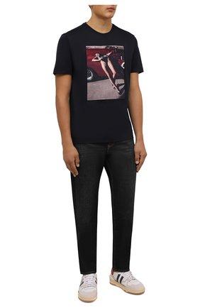 Мужская хлопковая футболка LIMITATO темно-синего цвета, арт. NUMBER 2/T-SHIRT | Фото 2 (Длина (для топов): Стандартные; Материал внешний: Хлопок; Рукава: Короткие; Принт: С принтом; Стили: Гранж)