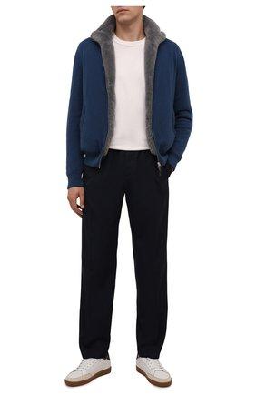 Мужской кашемировый бомбер с меховой подкладкой SVEVO синего цвета, арт. 0140SA21/MP01/2 | Фото 2 (Материал внешний: Шерсть, Кашемир; Рукава: Длинные; Длина (верхняя одежда): Короткие; Кросс-КТ: Куртка; Принт: Без принта; Мужское Кросс-КТ: шерсть и кашемир, утепленные куртки; Стили: Кэжуэл)