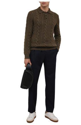 Мужской кашемировый свитер RALPH LAUREN хаки цвета, арт. 790846102 | Фото 2 (Материал внешний: Шерсть, Кашемир; Рукава: Длинные; Длина (для топов): Стандартные; Мужское Кросс-КТ: Свитер-одежда; Стили: Кэжуэл; Принт: Без принта)