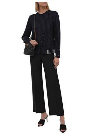 Женский жакет из шерсти и хлопка GIORGIO ARMANI темно-синего цвета, арт. 6KAG53/AJDEZ | Фото 2 (Длина (для топов): Стандартные; Рукава: Длинные; Материал внешний: Шерсть; Стили: Кэжуэл; Случай: Повседневный; 1-2-бортные: Двубортные; Женское Кросс-КТ: Жакет-одежда)