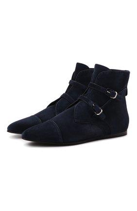Женские замшевые ботинки GIORGIO ARMANI темно-синего цвета, арт. X1M374/XF462 | Фото 1 (Подошва: Плоская; Материал внутренний: Натуральная кожа; Каблук высота: Низкий; Женское Кросс-КТ: Дезерты-ботинки; Материал внешний: Замша)