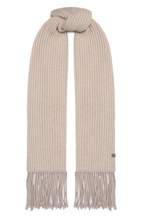 Женский кашемировый шарф BRUNELLO CUCINELLI светло-бежевого цвета, арт. M52502599   Фото 1 (Материал: Кашемир, Шерсть)
