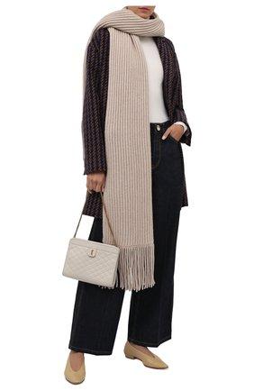 Женский кашемировый шарф BRUNELLO CUCINELLI светло-бежевого цвета, арт. M52502599   Фото 2 (Материал: Кашемир, Шерсть)