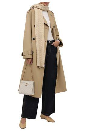 Женский кашемировый шарф BRUNELLO CUCINELLI кремвого цвета, арт. M12182899 | Фото 2 (Материал: Шерсть, Кашемир)