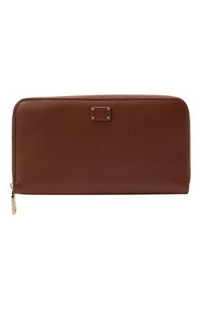Женские кожаный кошелек DOLCE & GABBANA коричневого цвета, арт. BI0473/A0049 | Фото 1