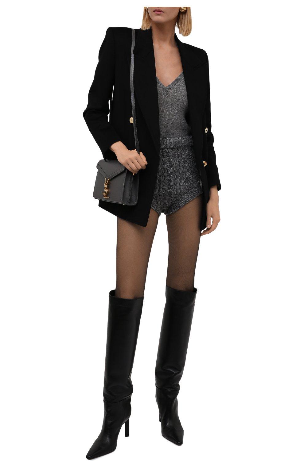 Женские шорты REDVALENTINO темно-серого цвета, арт. WR0KF00E/66S | Фото 2 (Женское Кросс-КТ: Шорты-одежда; Стили: Гламурный; Длина Ж (юбки, платья, шорты): Мини; Материал внешний: Синтетический материал; Кросс-КТ: Трикотаж)