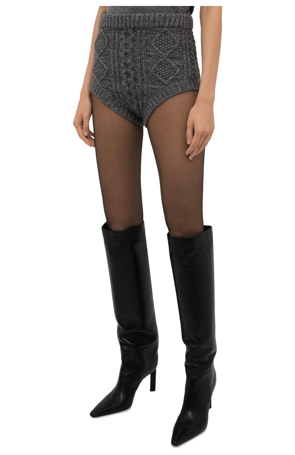Женские шорты REDVALENTINO темно-серого цвета, арт. WR0KF00E/66S | Фото 3 (Женское Кросс-КТ: Шорты-одежда; Стили: Гламурный; Длина Ж (юбки, платья, шорты): Мини; Материал внешний: Синтетический материал; Кросс-КТ: Трикотаж)