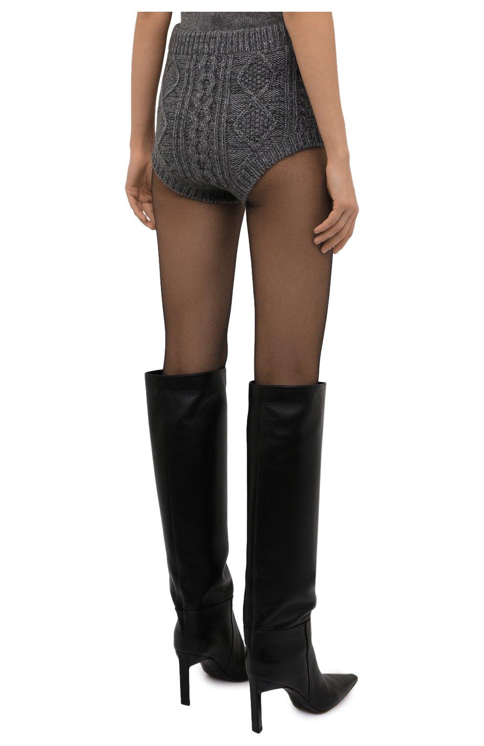 Женские шорты REDVALENTINO темно-серого цвета, арт. WR0KF00E/66S | Фото 4 (Женское Кросс-КТ: Шорты-одежда; Стили: Гламурный; Длина Ж (юбки, платья, шорты): Мини; Материал внешний: Синтетический материал; Кросс-КТ: Трикотаж)