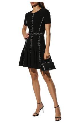 Женское платье ALEXANDER MCQUEEN черного цвета, арт. 679405/Q1AW4   Фото 2 (Длина Ж (юбки, платья, шорты): Мини; Рукава: Короткие; Материал внешний: Вискоза; Стили: Гламурный; Кросс-КТ: Трикотаж; Случай: Формальный; Женское Кросс-КТ: платье-футляр)