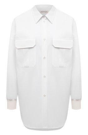 Женская хлопковая рубашка ALEXANDER MCQUEEN белого цвета, арт. 675818/QAAAY   Фото 1 (Длина (для топов): Удлиненные; Рукава: Длинные; Материал внешний: Хлопок; Стили: Минимализм; Принт: Без принта; Женское Кросс-КТ: Рубашка-одежда)