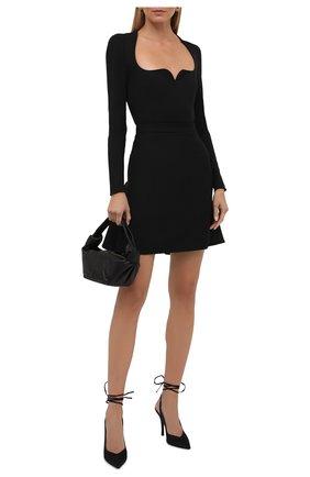 Женская шерстяная юбка ALEXANDER MCQUEEN черного цвета, арт. 675725/QJACA | Фото 2 (Материал подклада: Синтетический материал; Длина Ж (юбки, платья, шорты): Мини; Материал внешний: Шерсть; Стили: Кэжуэл; Женское Кросс-КТ: Юбка-одежда)