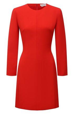 Женское шерстяное платье ALEXANDER MCQUEEN красного цвета, арт. 671853/QJACA | Фото 1 (Длина Ж (юбки, платья, шорты): Мини; Рукава: Длинные; Материал внешний: Шерсть; Материал подклада: Синтетический материал; Стили: Гламурный; Случай: Формальный; Женское Кросс-КТ: платье-футляр)