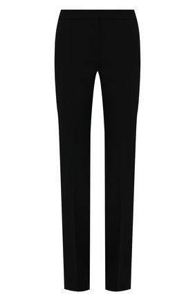 Женские шерстяные брюки ALEXANDER MCQUEEN черного цвета, арт. 589426/QJACA   Фото 1 (Длина (брюки, джинсы): Удлиненные; Материал внешний: Шерсть; Стили: Гламурный; Силуэт Ж (брюки и джинсы): Прямые)