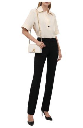 Женские шерстяные брюки ALEXANDER MCQUEEN черного цвета, арт. 589426/QJACA   Фото 2 (Длина (брюки, джинсы): Удлиненные; Материал внешний: Шерсть; Стили: Гламурный; Силуэт Ж (брюки и джинсы): Прямые)