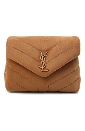 Женская сумка loulou toy SAINT LAURENT коричневого цвета, арт. 678401/1U837 | Фото 1 (Размер: mini; Материал: Натуральная кожа, Натуральная замша; Ремень/цепочка: На ремешке; Сумки-технические: Сумки через плечо)