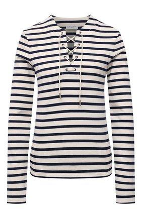 Женский хлопковый пуловер SAINT LAURENT кремвого цвета, арт. 662755/Y36GH   Фото 1 (Материал внешний: Хлопок; Длина (для топов): Стандартные; Рукава: Длинные; Стили: Кэжуэл; Женское Кросс-КТ: Пуловер-одежда)