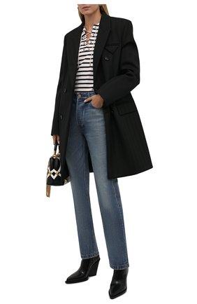 Женский хлопковый пуловер SAINT LAURENT кремвого цвета, арт. 662755/Y36GH   Фото 2 (Материал внешний: Хлопок; Длина (для топов): Стандартные; Рукава: Длинные; Стили: Кэжуэл; Женское Кросс-КТ: Пуловер-одежда)