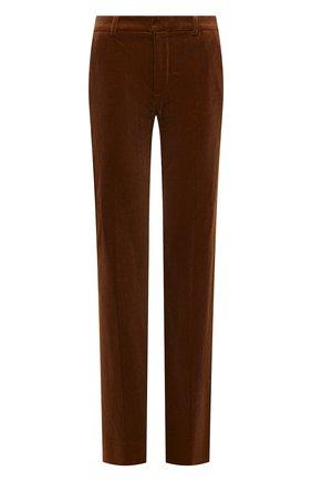 Женские вельветовые брюки SAINT LAURENT коричневого цвета, арт. 661321/Y107T   Фото 1 (Длина (брюки, джинсы): Удлиненные; Материал внешний: Хлопок; Стили: Гламурный; Силуэт Ж (брюки и джинсы): Расклешенные)