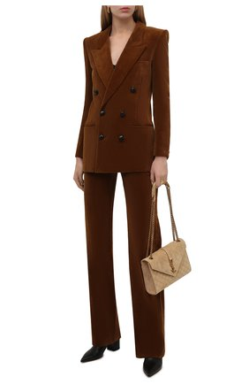Женские вельветовые брюки SAINT LAURENT коричневого цвета, арт. 661321/Y107T   Фото 2 (Длина (брюки, джинсы): Удлиненные; Материал внешний: Хлопок; Стили: Гламурный; Силуэт Ж (брюки и джинсы): Расклешенные)