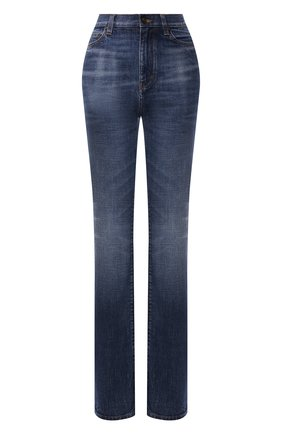 Женские джинсы SAINT LAURENT синего цвета, арт. 644332/Y10GA   Фото 1 (Материал внешний: Хлопок; Длина (брюки, джинсы): Удлиненные; Стили: Гламурный; Кросс-КТ: Деним; Силуэт Ж (брюки и джинсы): Прямые)