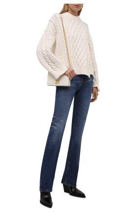 Женские джинсы SAINT LAURENT синего цвета, арт. 644332/Y10GA | Фото 2 (Материал внешний: Хлопок; Длина (брюки, джинсы): Удлиненные; Стили: Гламурный; Кросс-КТ: Деним; Силуэт Ж (брюки и джинсы): Прямые)