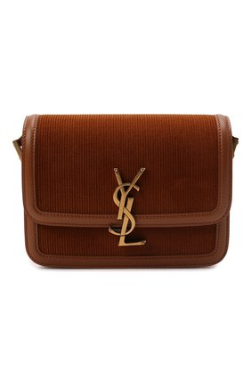 Женская сумка solferino ysl lock small SAINT LAURENT коричневого цвета, арт. 634306/24M3W | Фото 1 (Размер: small; Материал: Текстиль; Сумки-технические: Сумки через плечо)