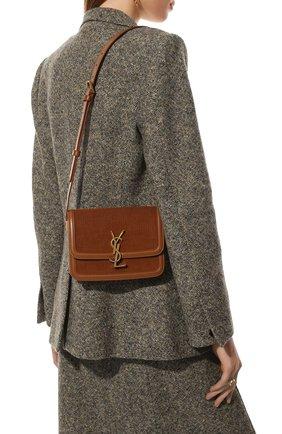 Женская сумка solferino ysl lock small SAINT LAURENT коричневого цвета, арт. 634306/24M3W | Фото 2 (Размер: small; Материал: Текстиль; Сумки-технические: Сумки через плечо)