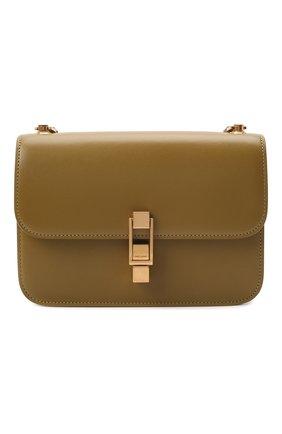 Женская сумка carre SAINT LAURENT хаки цвета, арт. 633214/1YF0W | Фото 1 (Материал: Натуральная кожа; Размер: small; Сумки-технические: Сумки через плечо)