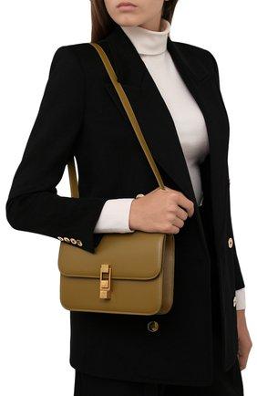 Женская сумка carre SAINT LAURENT хаки цвета, арт. 633214/1YF0W | Фото 2 (Материал: Натуральная кожа; Размер: small; Сумки-технические: Сумки через плечо)