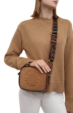 Женская сумка stella logo mini STELLA MCCARTNEY светло-коричневого цвета, арт. 700266/W8837 | Фото 2 (Размер: mini; Ремень/цепочка: На ремешке; Материал: Текстиль; Сумки-технические: Сумки через плечо)