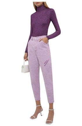 Женские джинсы STELLA MCCARTNEY сиреневого цвета, арт. 603003/S0H49 | Фото 2 (Материал внешний: Хлопок; Длина (брюки, джинсы): Стандартные; Стили: Спорт-шик; Кросс-КТ: Деним; Силуэт Ж (брюки и джинсы): Прямые)