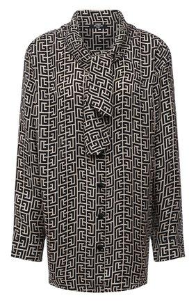 Женская блузка BALMAIN черно-белого цвета, арт. WF1HU020/I677 | Фото 1 (Материал внешний: Купро; Рукава: Длинные; Длина (для топов): Удлиненные; Стили: Гламурный; Принт: С принтом; Женское Кросс-КТ: Блуза-одежда)