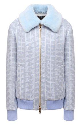 Женская шерстяная куртка BALMAIN светло-голубого цвета, арт. WF1TH020/W134   Фото 1 (Материал внешний: Шерсть; Длина (верхняя одежда): Короткие; Рукава: Длинные; Материал подклада: Вискоза; Стили: Спорт-шик; Кросс-КТ: Куртка)