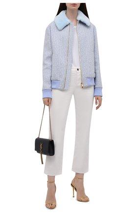 Женская шерстяная куртка BALMAIN светло-голубого цвета, арт. WF1TH020/W134   Фото 2 (Материал внешний: Шерсть; Длина (верхняя одежда): Короткие; Рукава: Длинные; Материал подклада: Вискоза; Стили: Спорт-шик; Кросс-КТ: Куртка)
