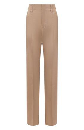 Женские шерстяные брюки CHLOÉ бежевого цвета, арт. CHC21APA16066   Фото 1 (Длина (брюки, джинсы): Удлиненные; Материал внешний: Шерсть; Стили: Романтичный; Силуэт Ж (брюки и джинсы): Расклешенные)